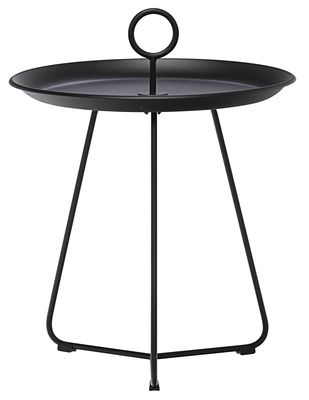 Furniture - Coffee Tables - Eyelet Small Coffee table - Ø 45 x H 46,5 cm by Houe - Black - Epoxy lacquered metal