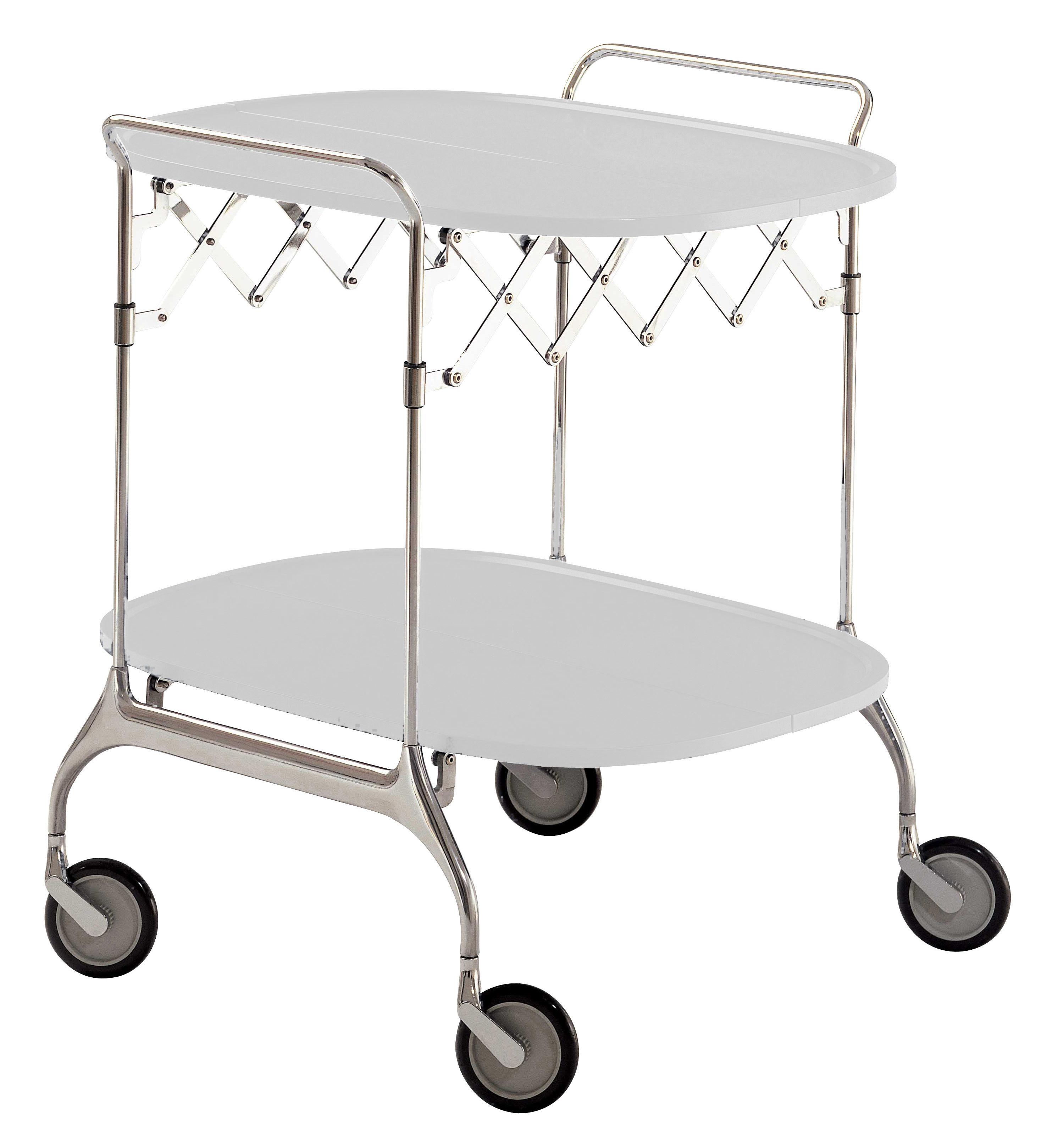 Mobilier - Compléments d'ameublement - Desserte Gastone / Pliable - 68 x 62 cm - Kartell - Blanc brillant / Structure chromée - Acier chromé, Nylon chagé de fibre de verre