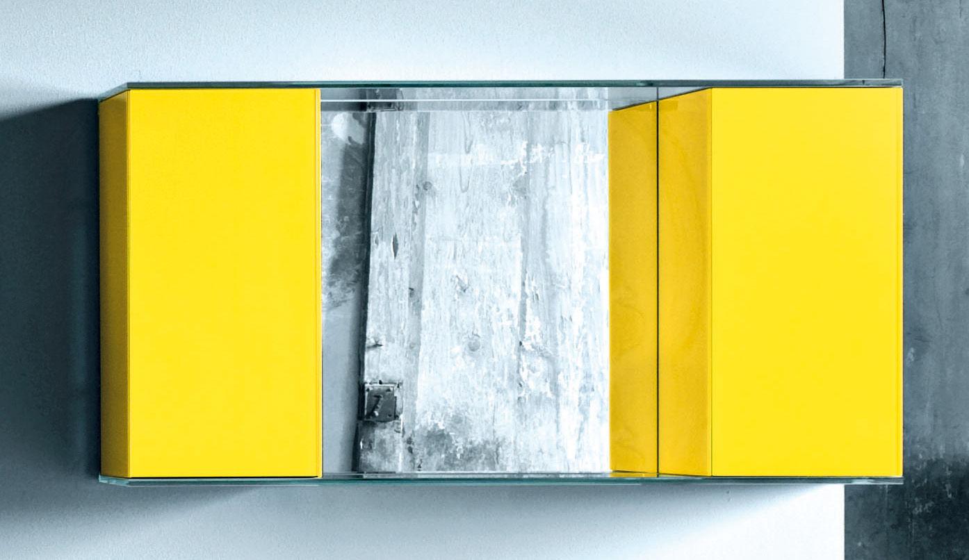 Mobilier - Etagères & bibliothèques - Etagère Float Wall 2 L 120 x H 62 cm - Glas Italia - Jaune - Verre