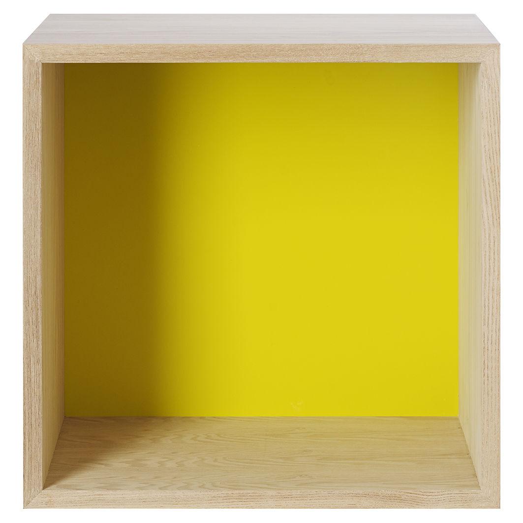 Mobilier - Etagères & bibliothèques - Etagère Stacked / Medium carré 43x43 cm / Avec fond coloré - Muuto - Frêne / Fond jaune - MDF finition frêne