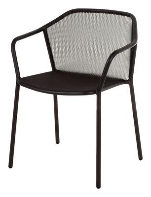 Mobilier - Chaises, fauteuils de salle à manger - Fauteuil bridge Darwin / Empilable - Métal - Emu - Noir - Acier verni