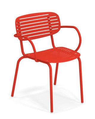Mobilier - Chaises, fauteuils de salle à manger - Fauteuil empilable Mom / Métal - Emu - Rouge - Acier verni