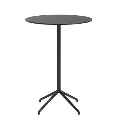 Furniture - High Tables - Still Café High table - / Ø 75 x H 105 cm - Linoleum by Muuto - Black - Cast aluminium, MDF with linoleum finish, Steel