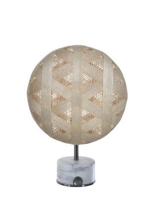 Lampe de table Chanpen Hexagon / Ø 26 cm - Motifs triangles - Forestier bois naturel en tissu/pierre
