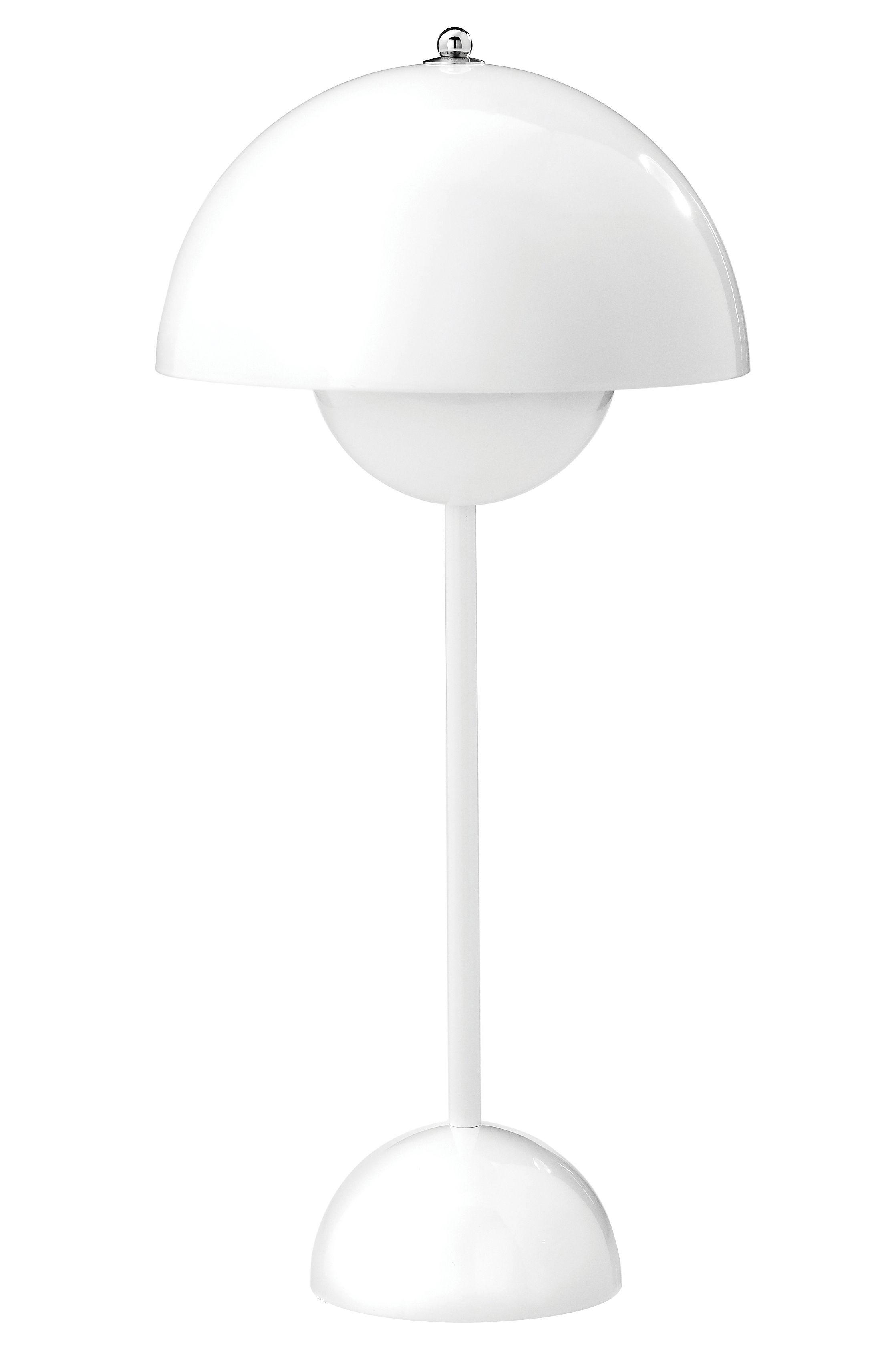 Luminaire - Lampes de table - Lampe de table FlowerPot VP3 / H 49 cm - By Verner Panton, 1969 - &tradition - Blanc - Aluminium laqué