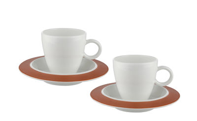 Tableware - Coffee Mugs & Tea Cups - Bravero Mocha cup - 7 cl / Set of 2 cups + saucers Special edition by Alessi - Copper & white - China