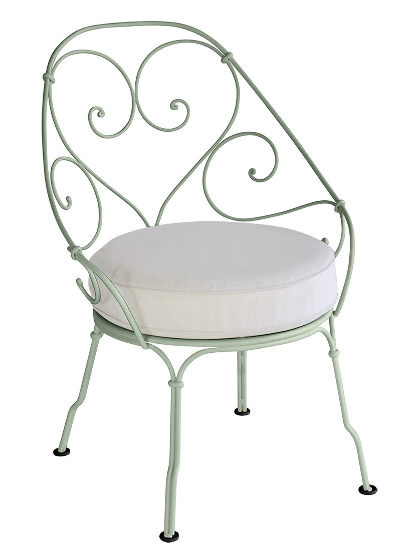 Furniture - Armchairs - 1900 Padded armchair - Cabriolet by Fermob - Cactus green / White cushion - High resistance polyurethane foam, Painted steel, Sunbrella fabric