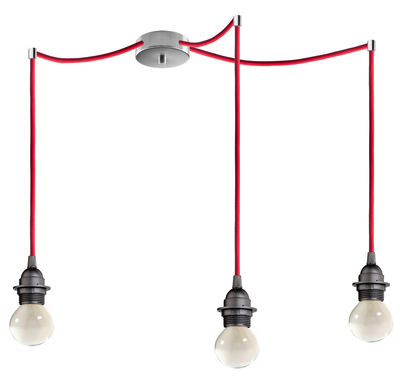 Lighting - Pendant Lighting - Bi Kage Triple Pendant - Triple - With lampholder by Sotto Luce - Lampholder black / Cable red / Canopy inox - Fabric, Metal, Plastic
