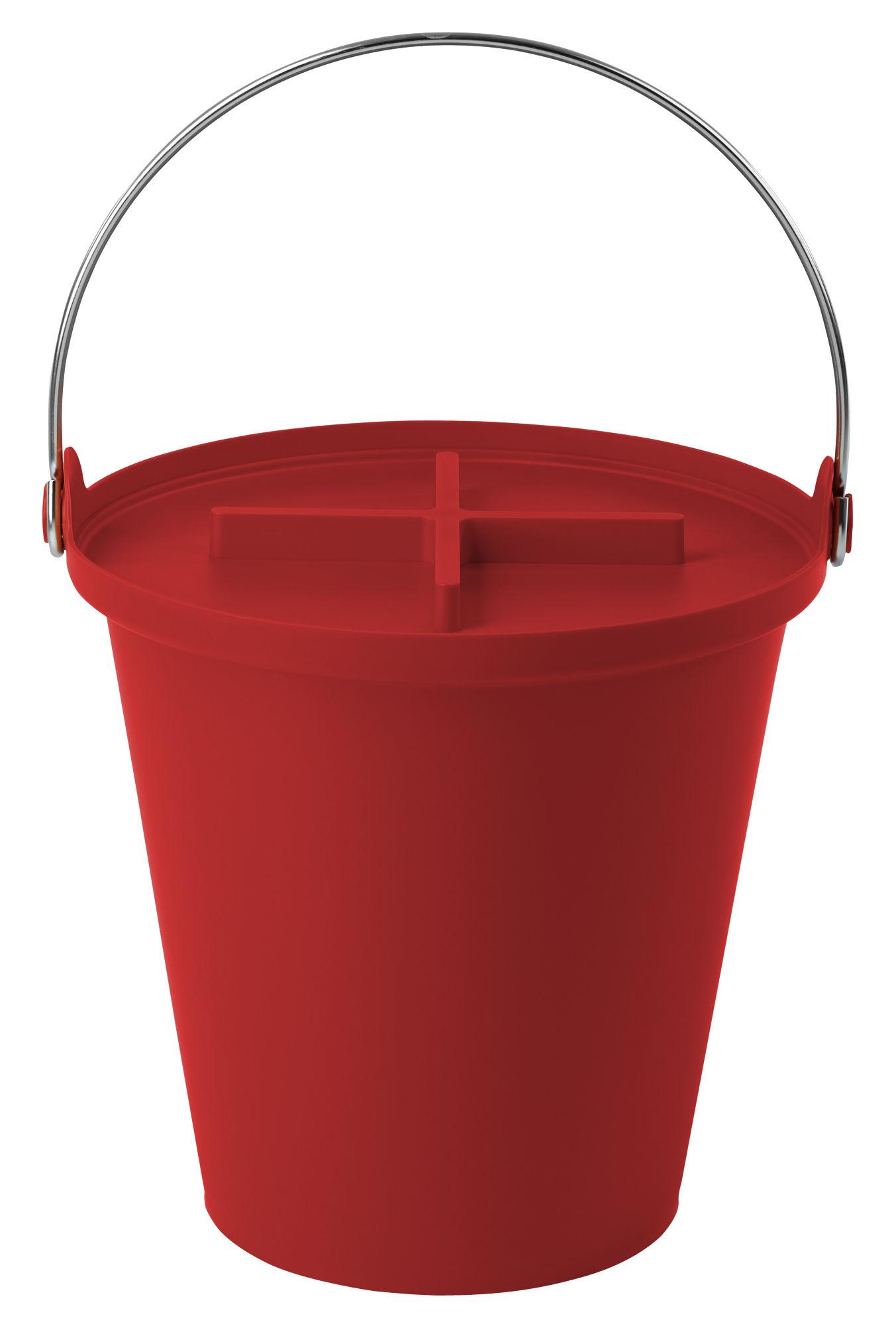 Déco - Salle de bains - Poubelle H2O / Seau - 13 Litres - Authentics - Rouge - Métal, Polypropylène