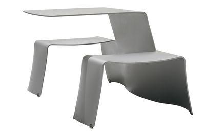Set table & bancs Picnik - Extremis gris clair en métal
