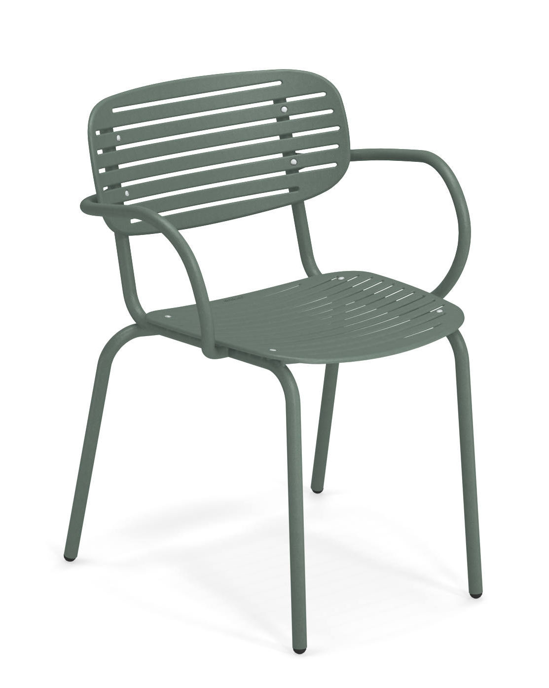 Möbel - Stühle  - Mom Stapelbarer Sessel / Metall - Emu - Dunkelgrün - gefirnister Stahl