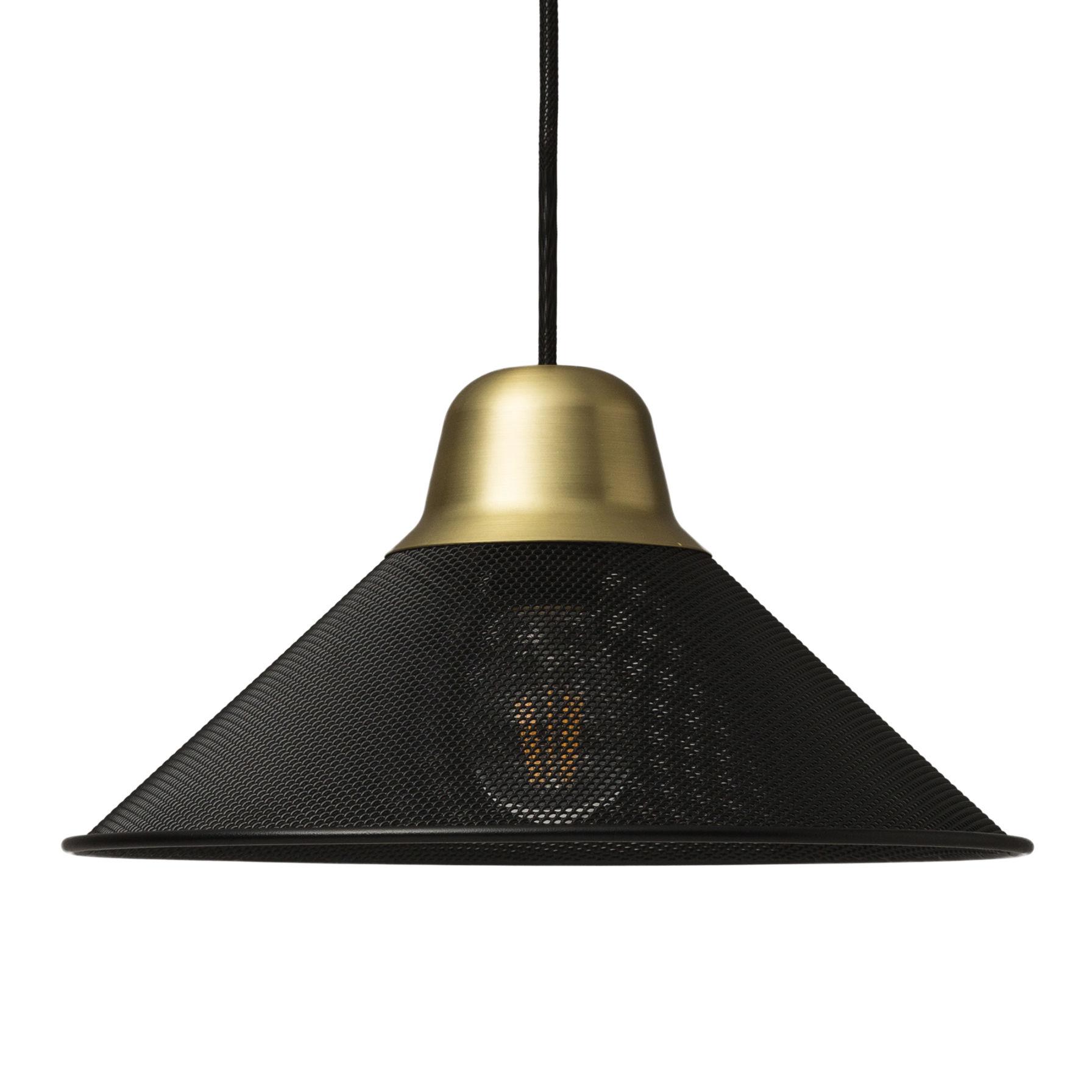 Luminaire - Suspensions - Suspension Aura Small / Métal - Ø 33 x H 17 cm - Petite Friture - Noir / Laiton - Acier peint époxy, Laiton brossé