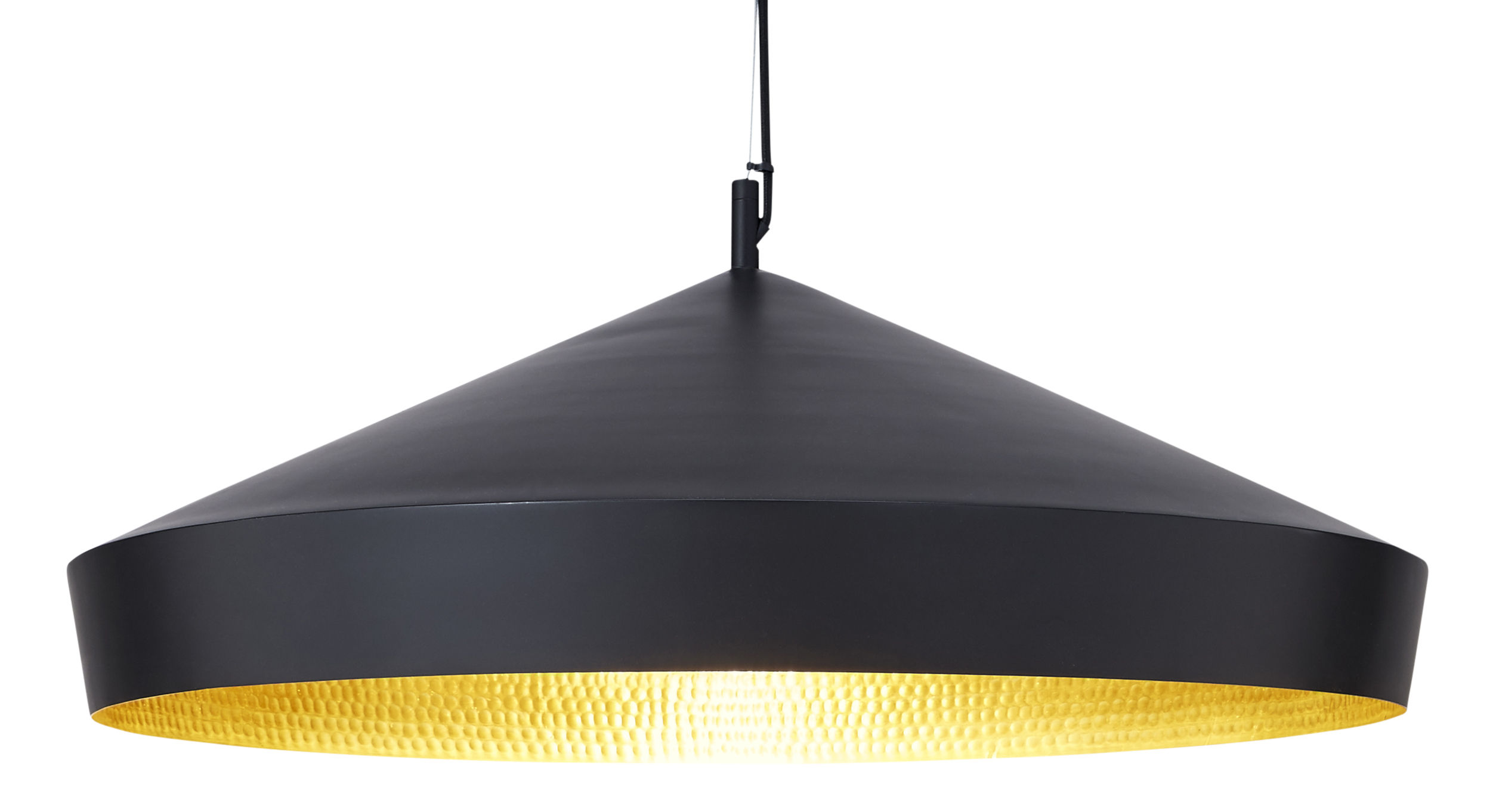 Luminaire - Suspensions - Suspension Beat Flat / Ø 60  x H 20 cm - Tom Dixon - Noir / intérieur doré - Laiton