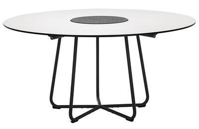 Jardin - Tables de jardin - Table de jardin Circle /  Ø 150 cm - Stratifié & granit - Houe - Blanc / Piètement gris - Granit, Métal laqué époxy, Stratifié