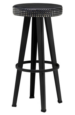 Mobilier - Tabourets de bar - Tabouret de bar Bar Stud / H 76 cm - Assise rembourrée cuir & métal - Diesel with Moroso - Noir - Acier laqué, Cuir