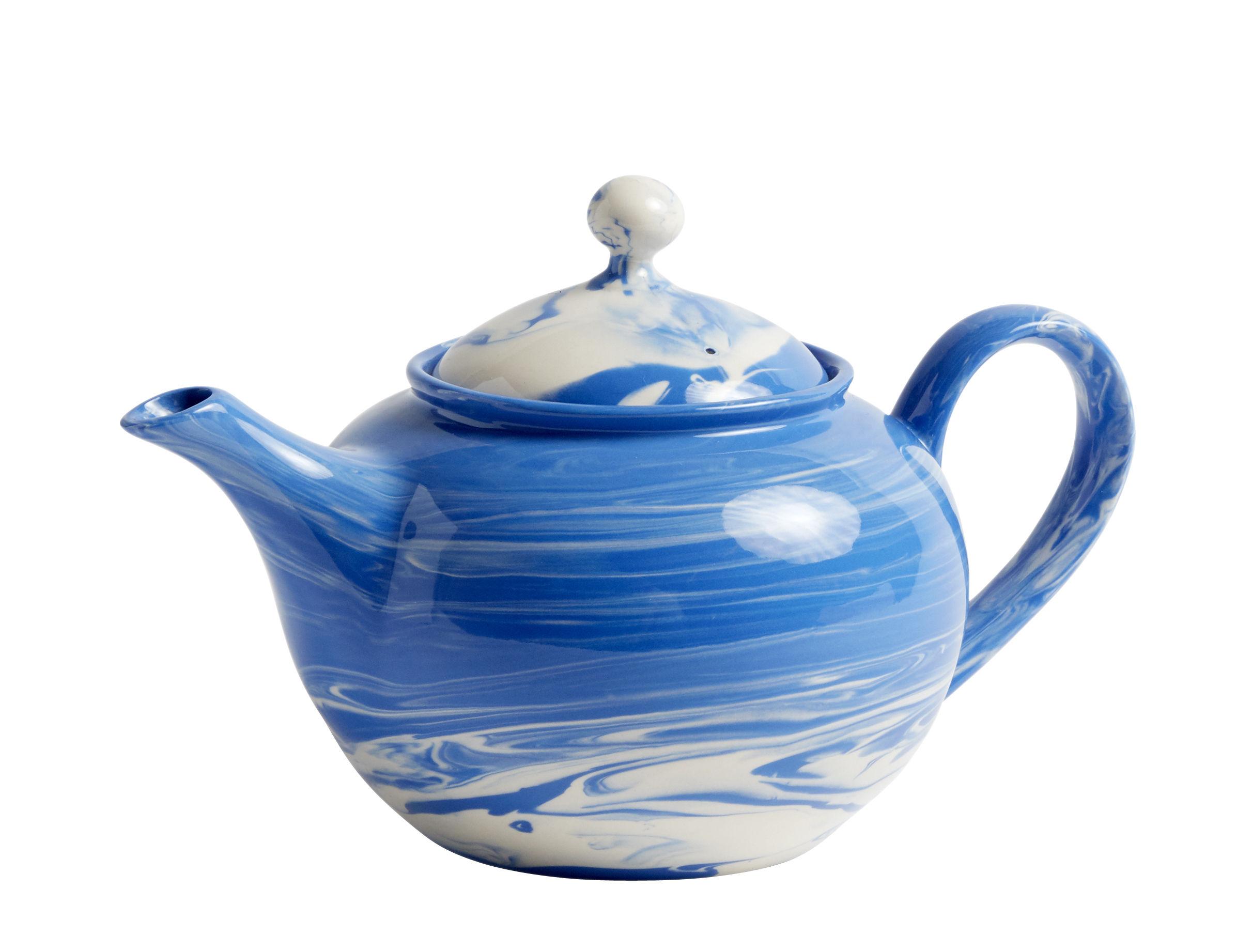 Tischkultur - Tee und Kaffee - Marbled Teekanne / 0,8 l - Porzellan - Hay - Blau - Porzellan, Sandstein