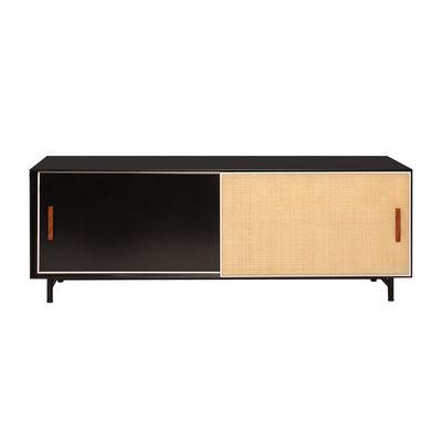 Furniture - TV Stands - Essence Television table - / L 140 x H 42 cm - Wood & rattan by Maison Sarah Lavoine - Black / Rattan - Lacquered wood, Metal, Rattan marrow