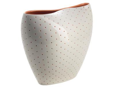 Déco - Vases - Vase Aldo - Alessi - Blanc brillant - Intérieur orange - Porcelaine