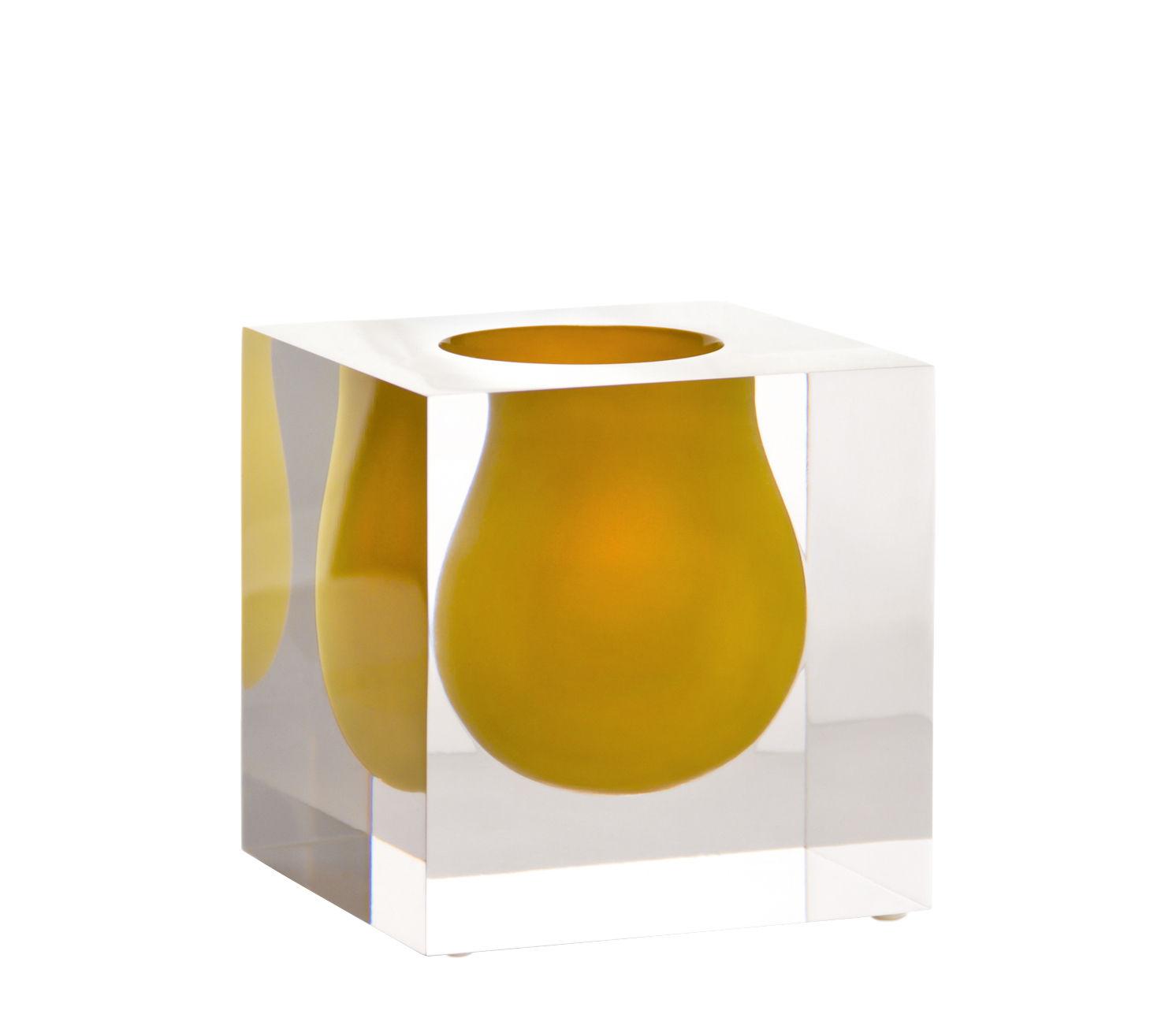 Déco - Vases - Vase Bel Air Mini Scoop / Acrylique - Carré L 10 cm - Jonathan Adler - Orange / Transparent - Acrylique