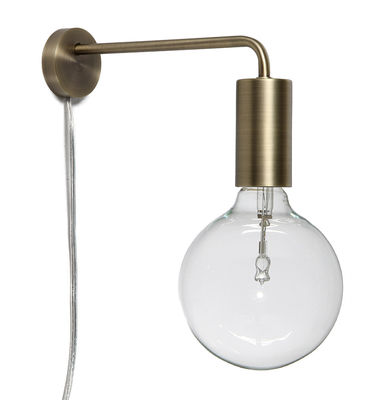 Lighting - Wall Lights - Cool Wall light with plug by Frandsen - Antique brass - Antique brass finish metal