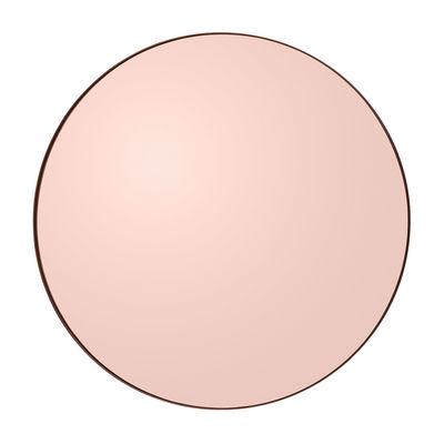 Decoration - Mirrors - Circum Medium Wall mirror - / Ø 90 cm by AYTM - Smoked pink - Glass, Painted MDF