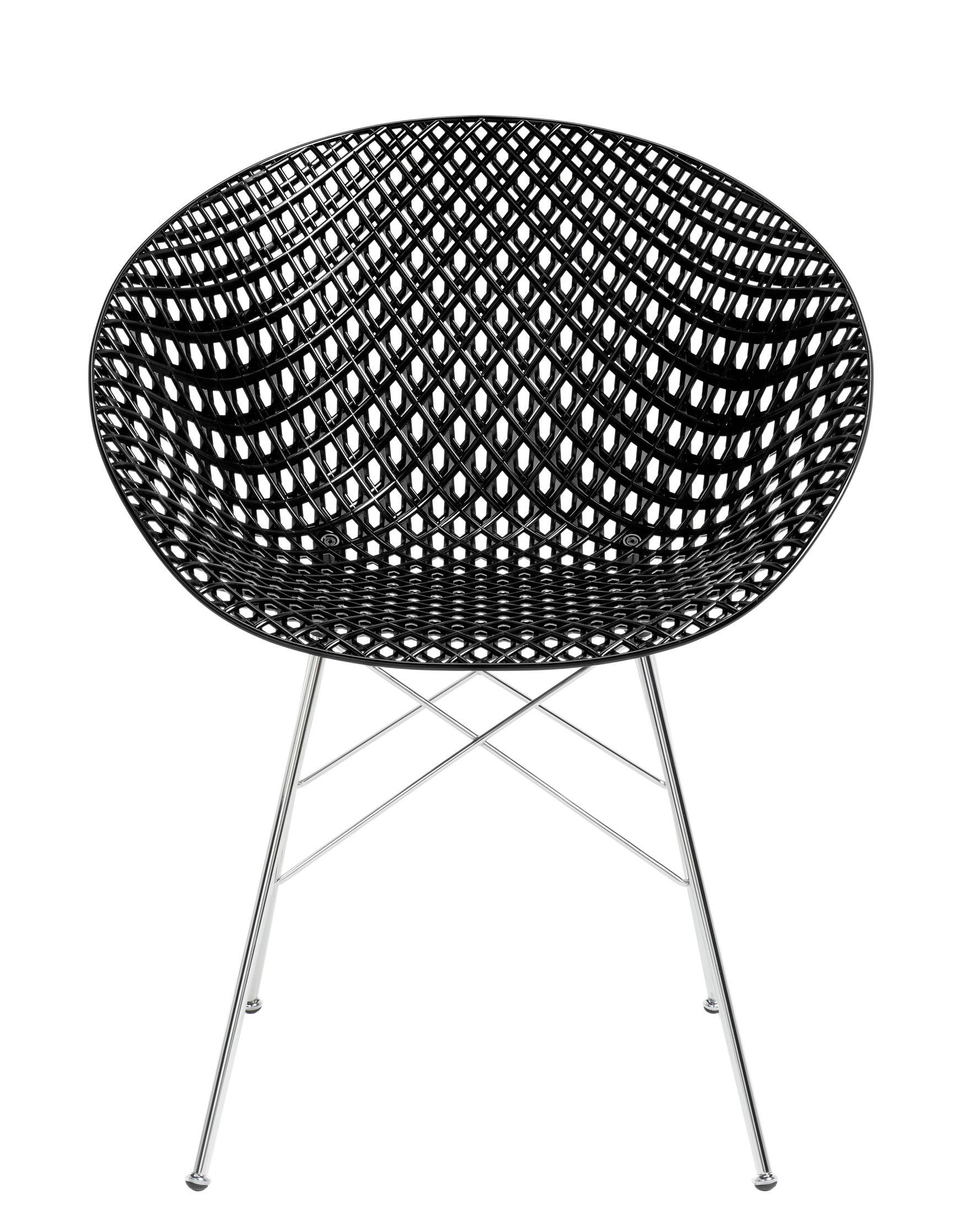 Furniture - Chairs - Smatrik Armchair - / Plastic seat & metal legs by Kartell - Black / Chrome - Chromed steel, Polycarbonate