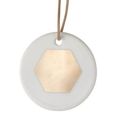 Déco - Objets déco et cadres-photos - Boule de Noël Porcelain Ornament / Hexagon - Ferm Living - Hexagon / Blanc & or - Porcelaine
