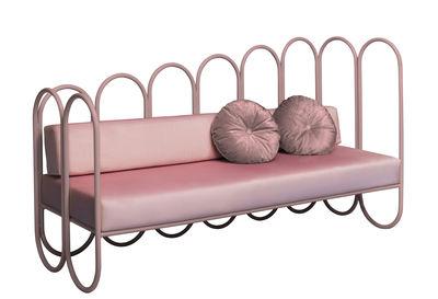 Canapé droit Arco / 3 places - Velours - Houtique rose pâle en métal