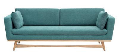Canapé droit / L 210 cm - Tissu - RED Edition chêne naturel,bleu indien en tissu
