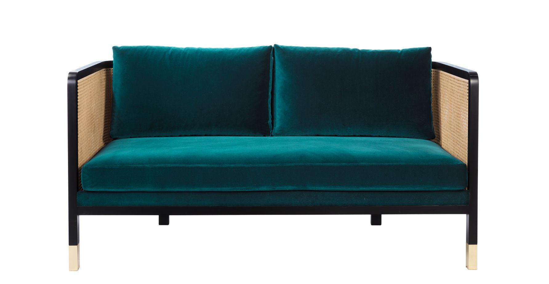 Mobilier - Canapés - Canapé droit Cannage / L 160 cm - Velours - RED Edition - Bleu Canard / Noir & naturel -  Plumes, Acier, Hêtre teinté, Mousse haute résilience, Rotin, Velours