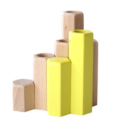 Decoration - Candles & Candle Holders - Jacques Candle stick - Modular - For 4 candles by Hartô - Lemon yellow - Alder
