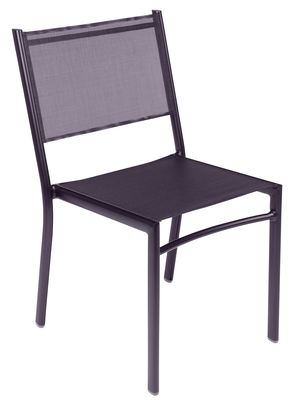 Chaise empilable Costa / Assise toile - Fermob prune en tissu