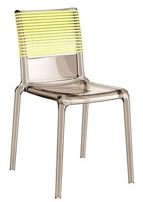 Mobilier - Chaises, fauteuils de salle à manger - Chaise empilable Misa Joy / Polycarbonate & dossier élastique - TOG - Fumé / Dossier jaune - Elastomère, Polycarbonate