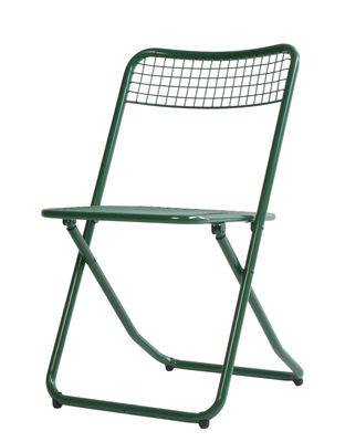Chaise pliante 085 / Métal grillagé - Houtique vert foncé en métal