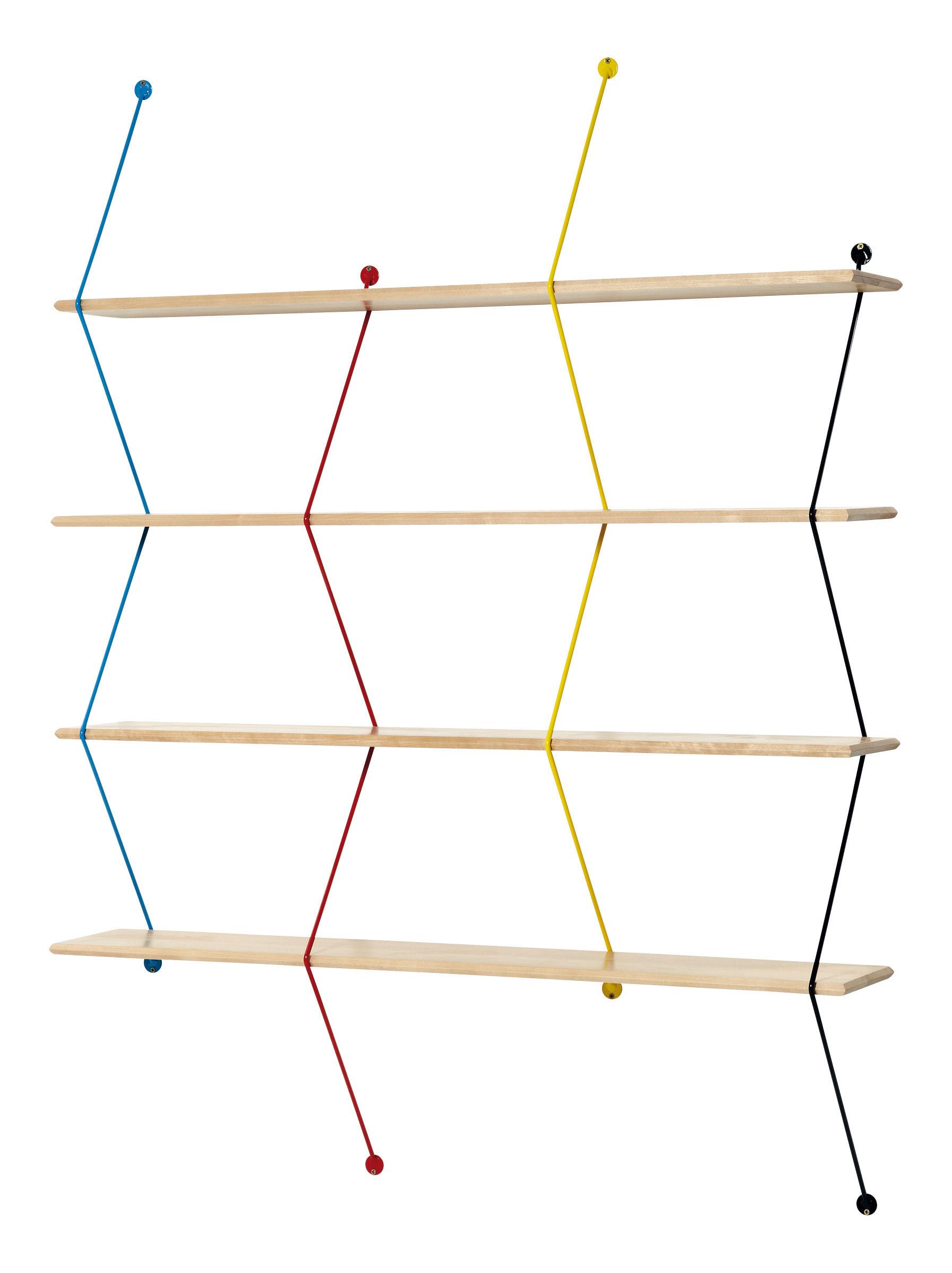 Mobilier - Etagères & bibliothèques - Etagère Climb / L 120 x H 155 cm - La Chance - Bouleau / Montants multicolores - Bouleau massif, Métal