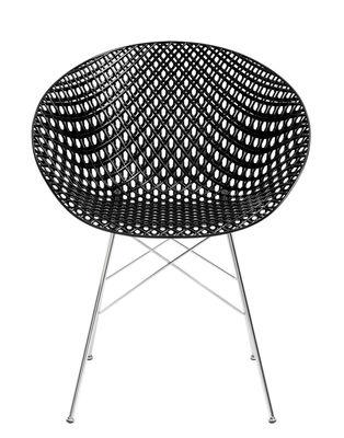 Mobilier - Chaises, fauteuils de salle à manger - Fauteuil Smatrik / Indoor - Kartell - Noir / Pied chromé - Acier chromé, Polycarbonate