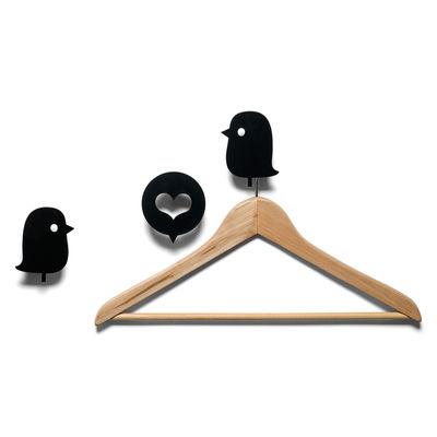 Furniture - Coat Racks & Pegs - Oiseaux et cœur Hook - 3 coat-pegs by Domestic - Black - Lacquered aluminium