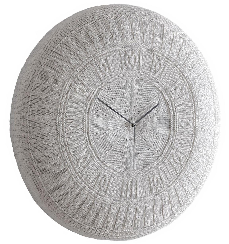 Déco - Horloges  - Horloge murale Gomitolo Large / Coton - Ø 90 cm - Diamantini & Domeniconi - Blanc cassé - Bois, Coton, Mousse