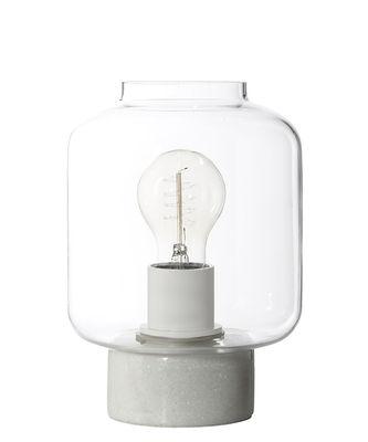 Illuminazione - Lampade da tavolo - Lampada da tavolo Column / H 22 cm - Frandsen - Marmo / Cristallo - Marmo bianco, Vetro