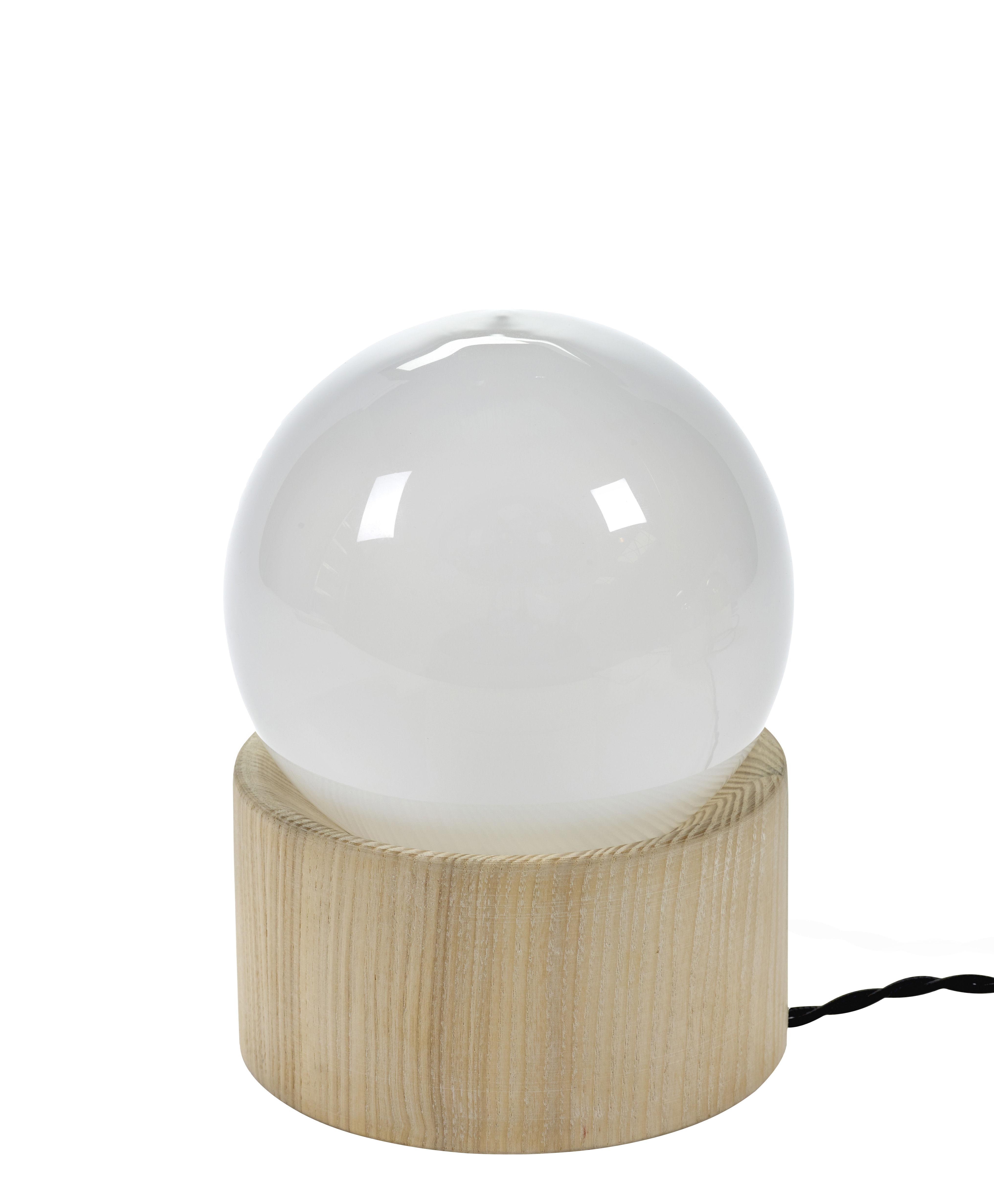 Luminaire - Lampes de table - Lampe de table Full Moon / Ø 14,5 cm - Serax - Blanc / Bois naturel - Bois, Verre teinté