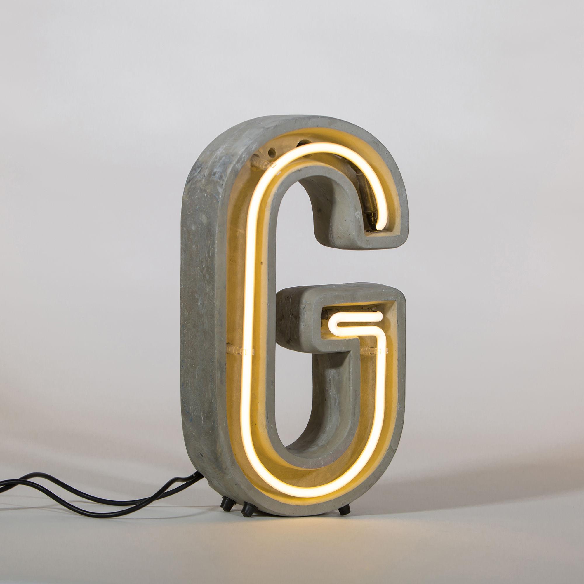 Luminaire - Lampes de table - Lampe de table Néon Alphacrete / Lettre G - Intérieur / extérieur - Seletti - Lettre G - Ciment, Verre