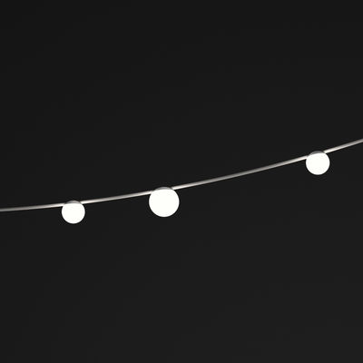 Leuchten - Pendelleuchten - June LED  Lichtgirlande im Freien / Kugeln - L 130 cm - Vibia - Kugeln / braun & weiß - bemalter Stahl, Polykarbonat