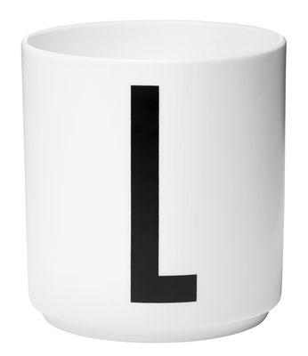 Mug Arne Jacobsen / Porcelaine - Lettre L - Design Letters blanc en céramique