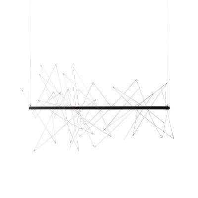 Lighting - Pendant Lighting - Graffiti LED Pendant - / L 180 cm - Adjustable: magnetic rods by Pallucco - L 180 cm / Anthracite & steel - Aluminium, Steel