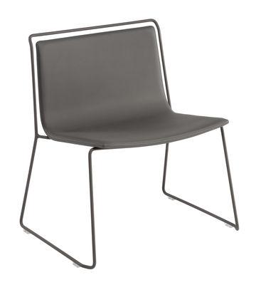 Arredamento - Poltrone design  - Poltrona bassa Alo XL / Similpelle - Ondarreta - Antracite / Struttura grigia - Acciaio, Similpelle