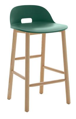 Image of Sgabello da bar Alfi / H 80 cm - Base frassino - Emeco - Verde - Materiale plastico/Legno