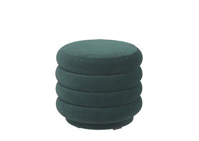 Möbel - Sitzkissen - Round Small Sitzkissen / Ø 42 cm - Velours - Ferm Living - Dunkelgrün - Holz, Schaumstoff, Velours