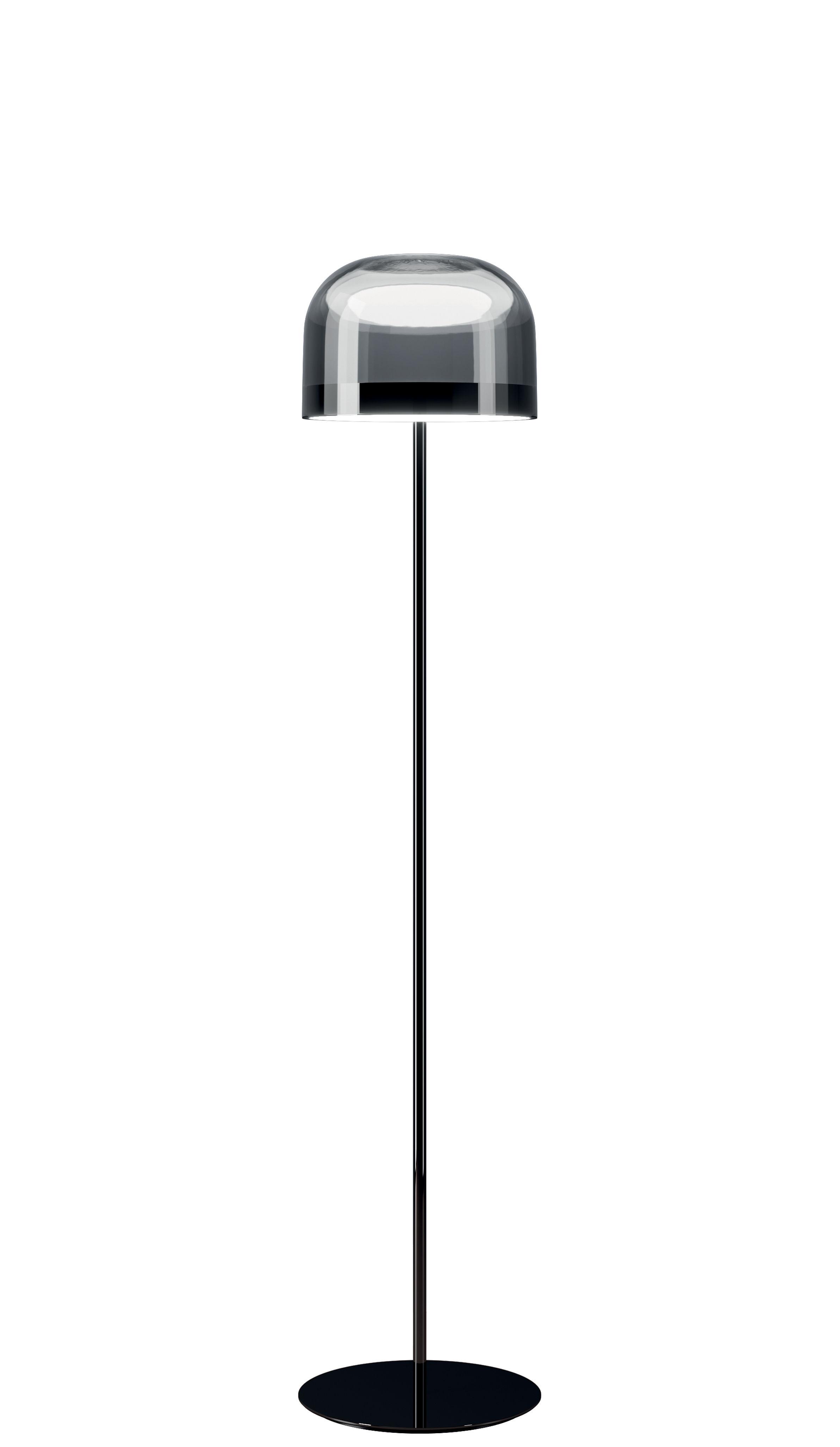 Leuchten - Stehleuchten - Equatore small Stehleuchte / LED - Glas - H 135 cm - Fontana Arte - H 135 cm / chrom-glänzend & grau - geblasenes Glas, Metall