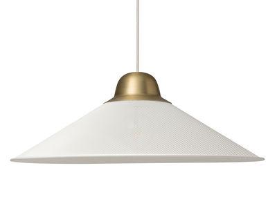 Luminaire - Suspensions - Suspension Aura Large / Métal - Ø 63 x H 22,5 cm - Petite Friture - Blanc / Laiton - Acier peint époxy, Laiton brossé