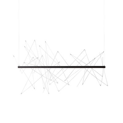 Luminaire - Suspensions - Suspension Graffiti LED / L 180 cm - Modulable : tiges aimantées - Pallucco - L 180 cm / Anthracite & acier - Acier, Aluminium